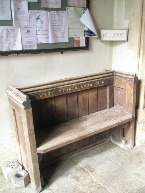 Simple seat in the church at St John the Evangelist, West Meon