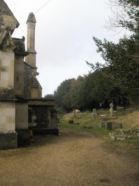 Path running past St John the Evangelist, West Meon