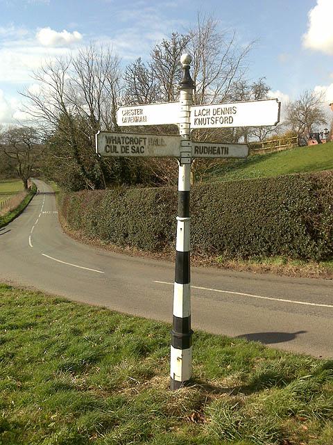 Signpost near Shipbrook Hill Farm