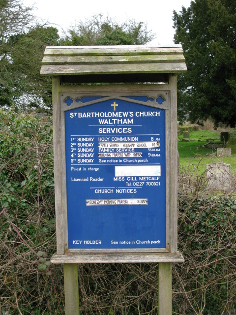 St Bartholomew's church notice board