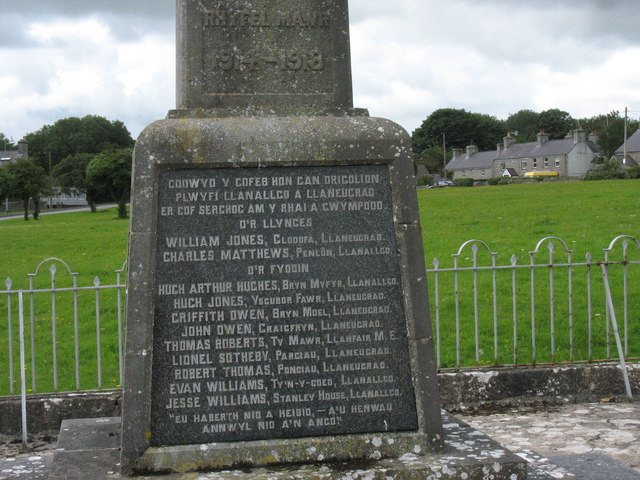 The fallen of Llanallgo and Llaneugrad of 1914-18