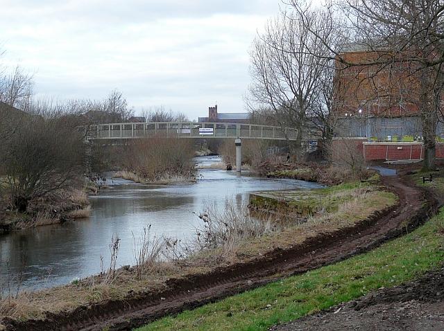 South Vale footbridge and River Caldew