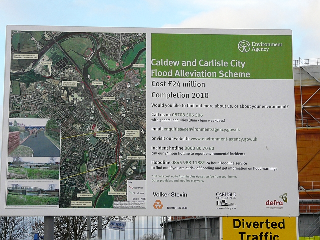 Board explaining Caldew flood alleviation scheme