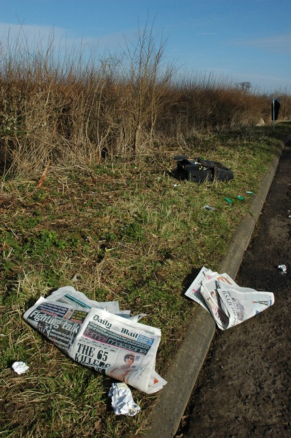 Litter beside a layby near Sedgeberrow