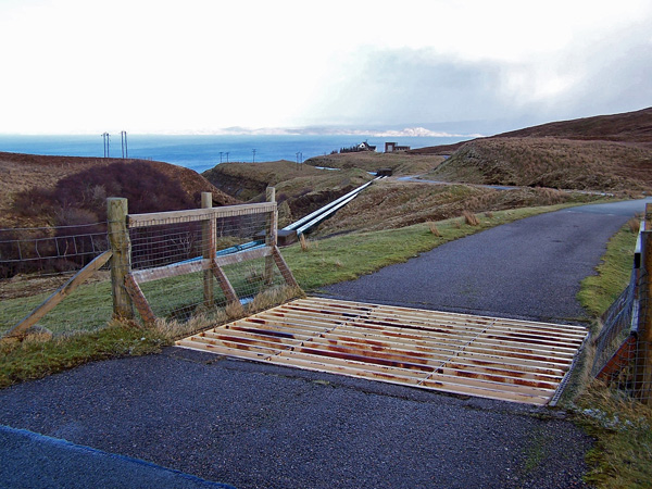 Cattle grid in road to Bearreraig Bay