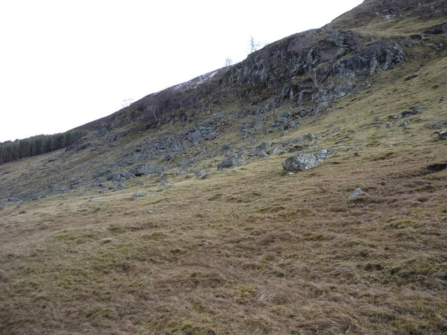 Crags on hillside in Glen Lyon
