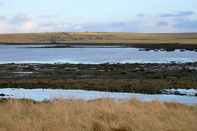 View across the voe at Baltasound on a low tide