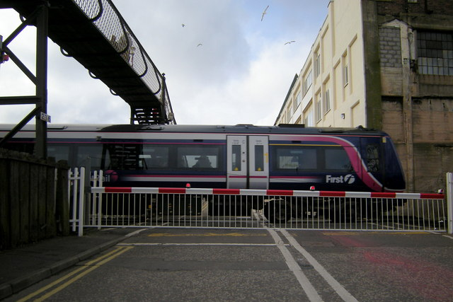 A northbound Train at the Level Crossing in Wellgate, Arbroath