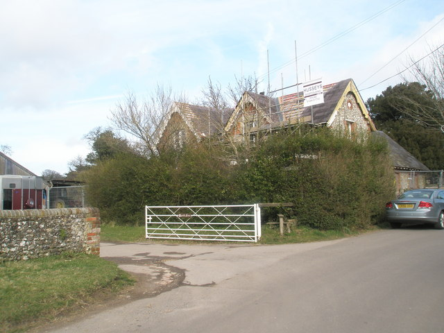 Scaffolding on the old school at Blendworth
