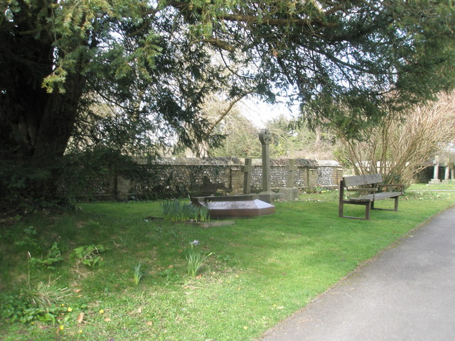 Seat in the churchyard at Blendworth