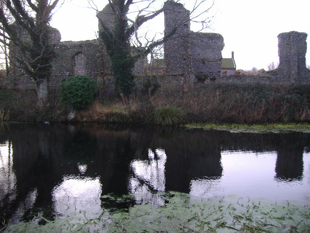 St Mary's Priory and the Pond in winter