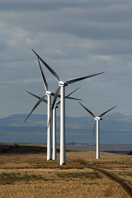 Turbines at Dun Law Wind Farm