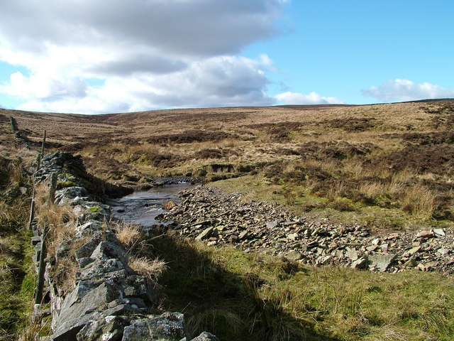 Confluence of burns on Greyfell Common