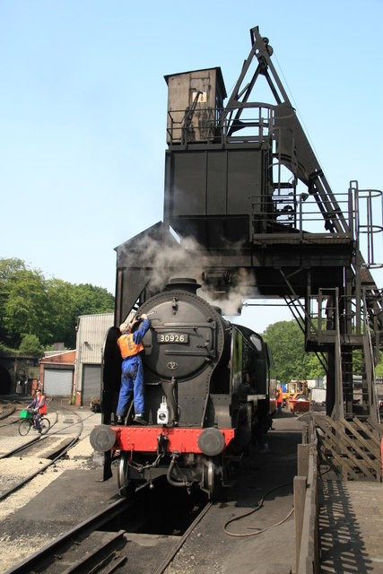 Repton on the coaling stage, Grosmont.