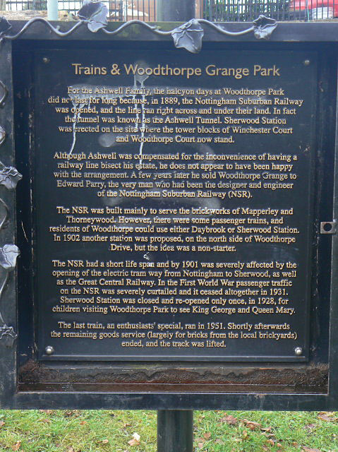 Information board by the Train Sculpture in Woodthorpe Grange Park