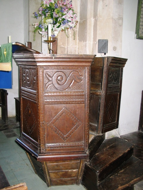 The 17th century Pulpit in Puttenham church