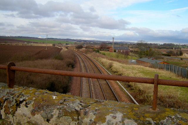 View of Dundee / Aberdeen  Railway looking towards Montrose