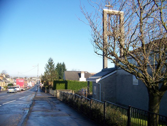 The B7078 at Larkhall with Larkhall Baptist Church on the right