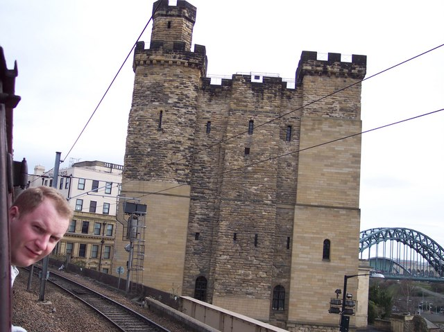 Newcastle castle from railway to the North