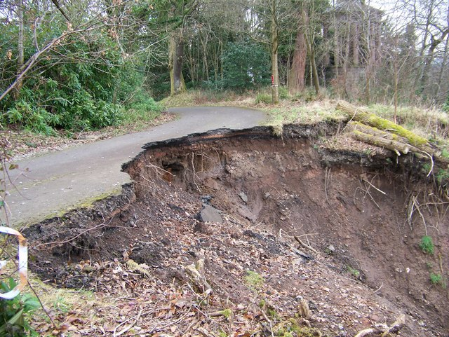 A land-slip at Chatelherault Country Park