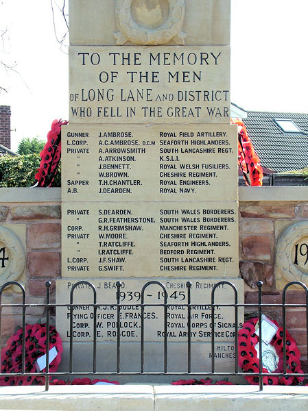 War Memorial Inscription, Long Lane, Cheadle