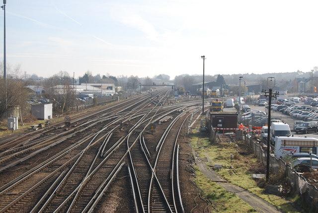 Looking East along the railway line, Tonbridge