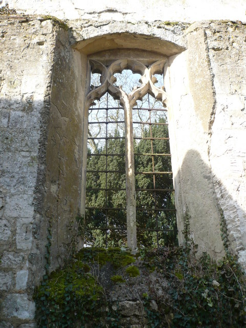 Window in the west wall of the ruined church of St. Mary