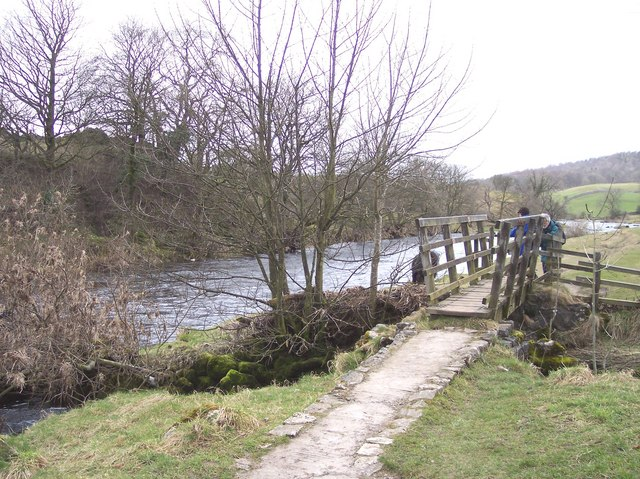 Riverside path footbridge near Grassington