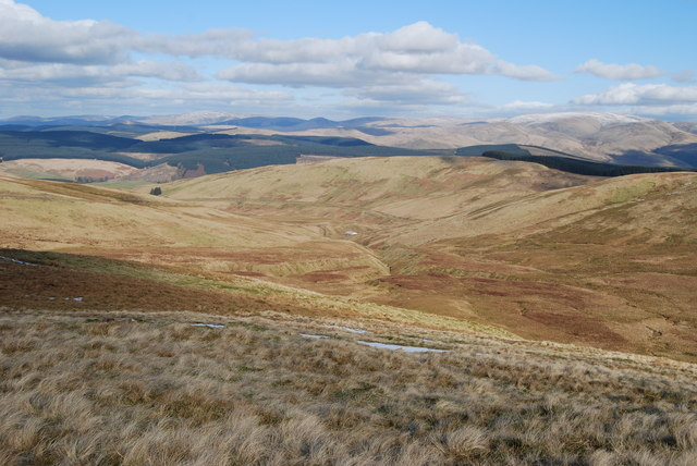 View down Harthope Burn from summit of Hods Hill