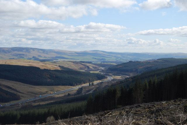 View down Evan Water valley from Greskine Forest
