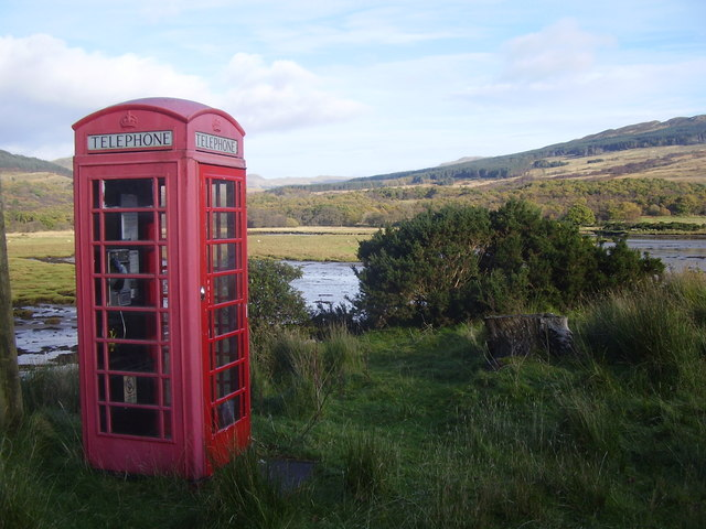 Phonebox where River Ruel flows into Loch Riddon
