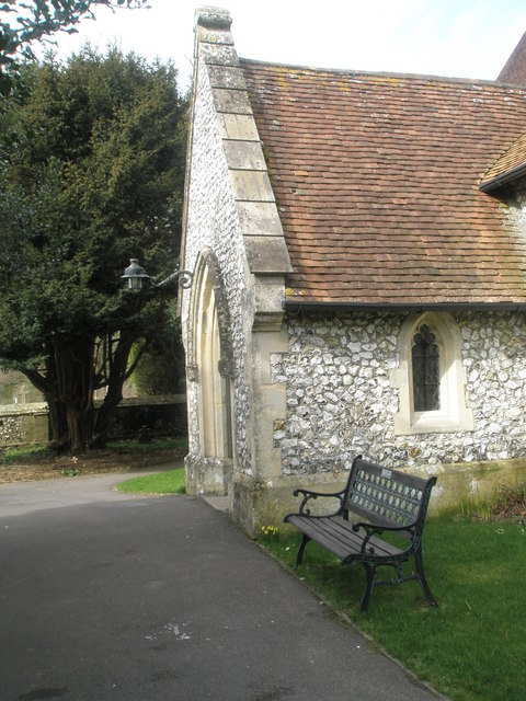 Seat by the porch at Holy Trinity, Blendworth