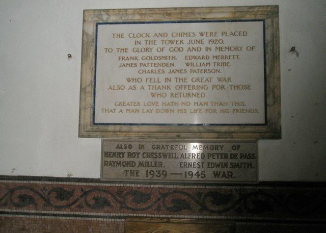 Commemorative plaque within Holy Trinity, Blendworth