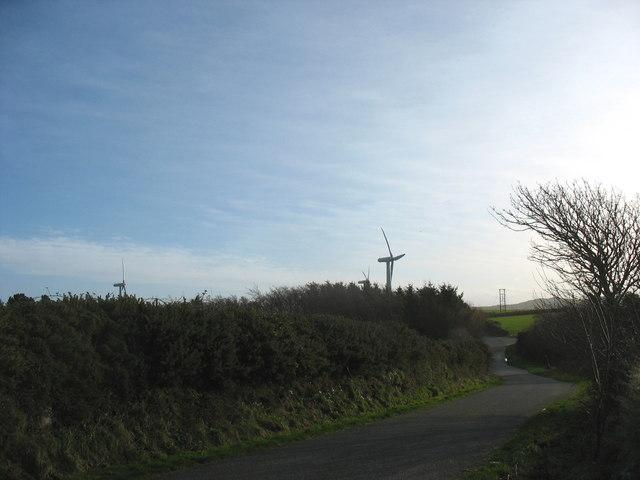 Bends in the road near Trysglwyn Wind Farm