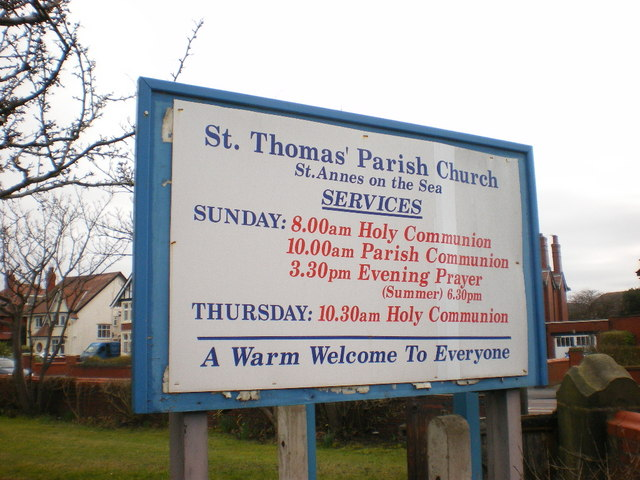 St Thomas' Parish Church, St Annes on the Sea, Sign