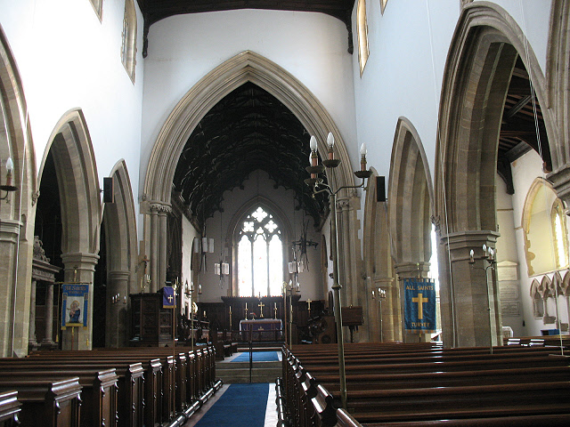 All Saints, Turvey: nave looking east