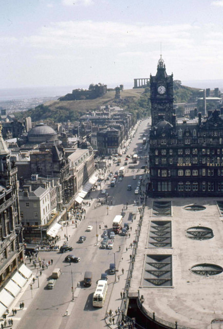Princes Street East from the top of the Scott monument. 1960