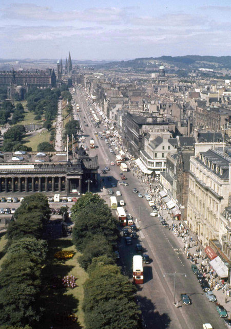 Princes Street West from top of the Scott monument. 1960