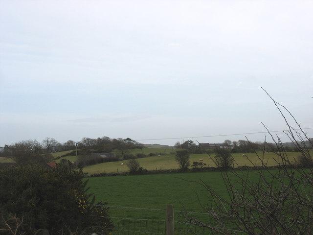 View across farmland towards Bryniau Tecaf
