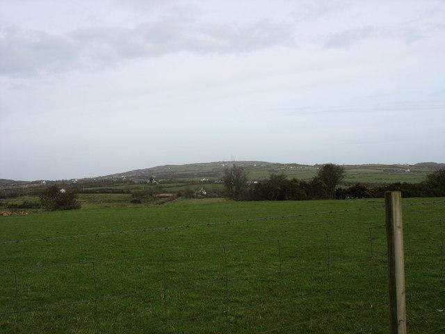 View north-eastwards across farmland at Henblas Farm