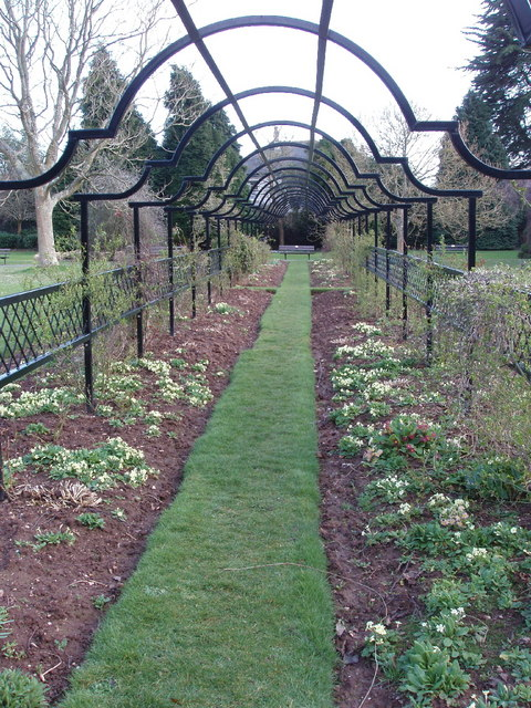 Spring flowers under arches, Tessier Gardens
