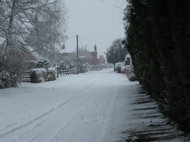 Main Street, Ambaston, in the snow