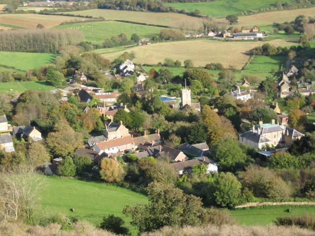 Symondsbury village from Colmers Hill