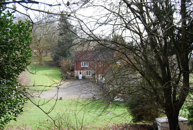 Cheesecombe Farm through the trees