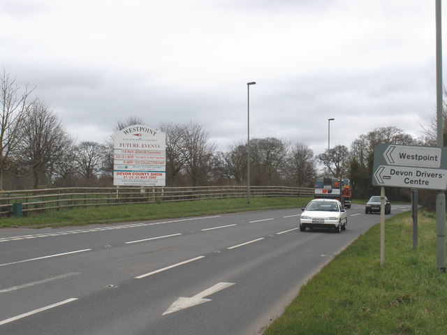 Turn-off for the Westpoint showground, on the A3052