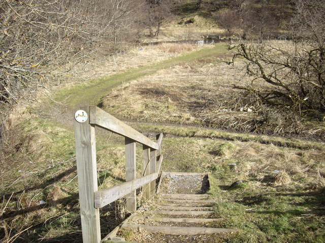 Steps down to the riverside path