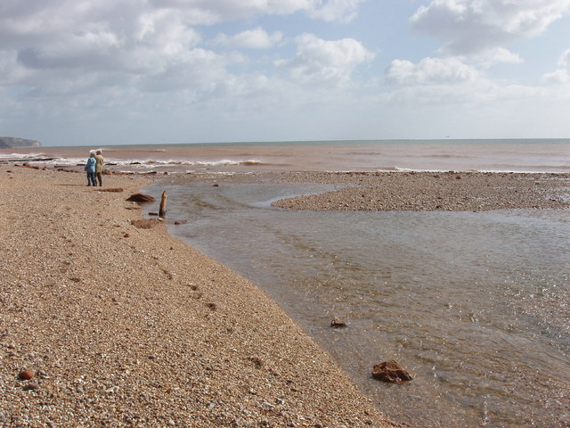 River Sid disgorges onto the beach at Sidmouth