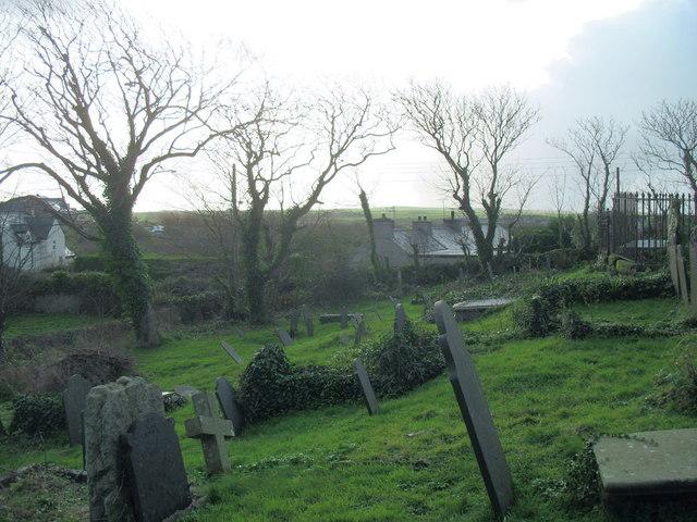 Old graves at Llanfaelog Parish Church