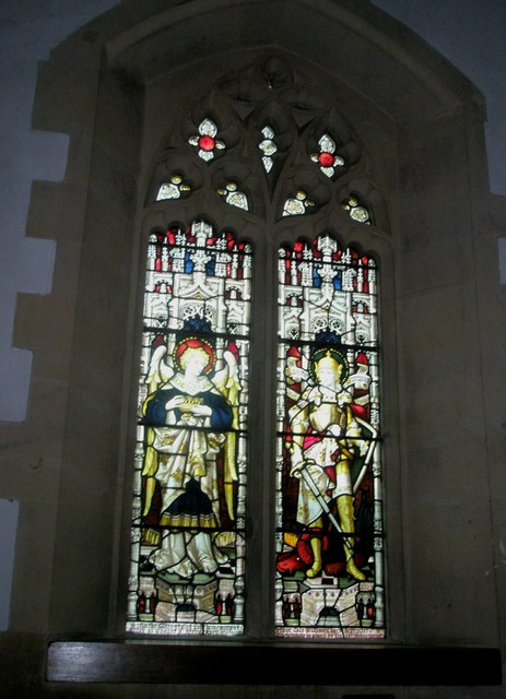 Stained glass window near the pulpit at Holy Trinity, Blendworth