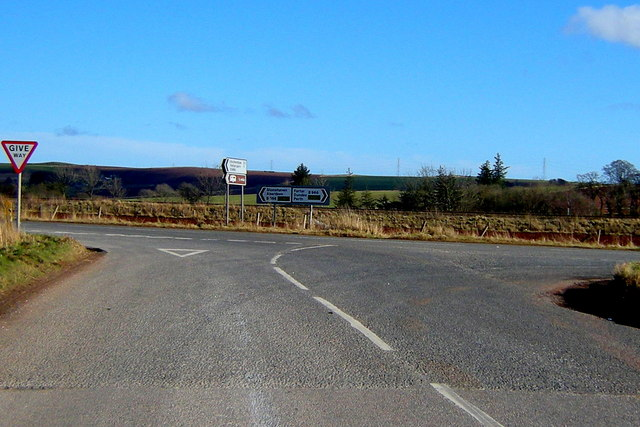 Fettercairn Road (B966) at its junction with the Aberdeen / Forfar Road